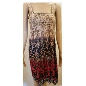 Dresses & Skirts - Womens Ruched Top Knee Length Floral Dress